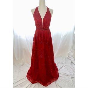 Jovani Halter Red Gown